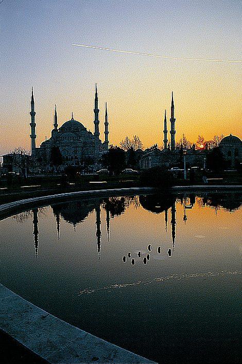 veduta al tramonto di Istanbul